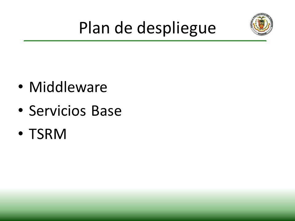Middleware Servicios Base TSRM Plan de despliegue