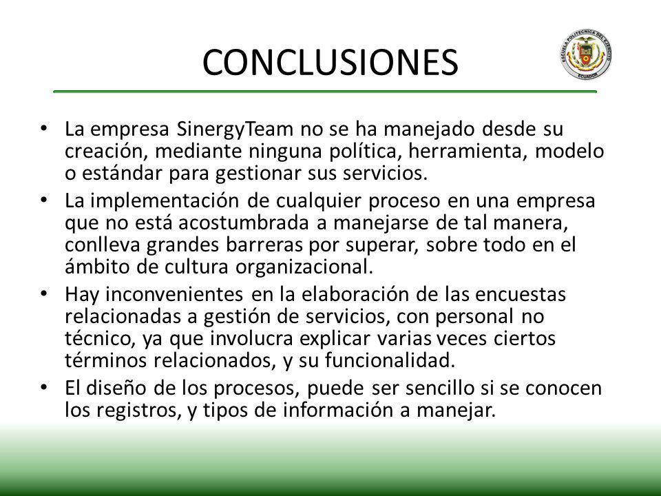 La empresa SinergyTeam no se ha manejado desde su creación, mediante ninguna política, herramienta, modelo o estándar para gestionar sus servicios. La