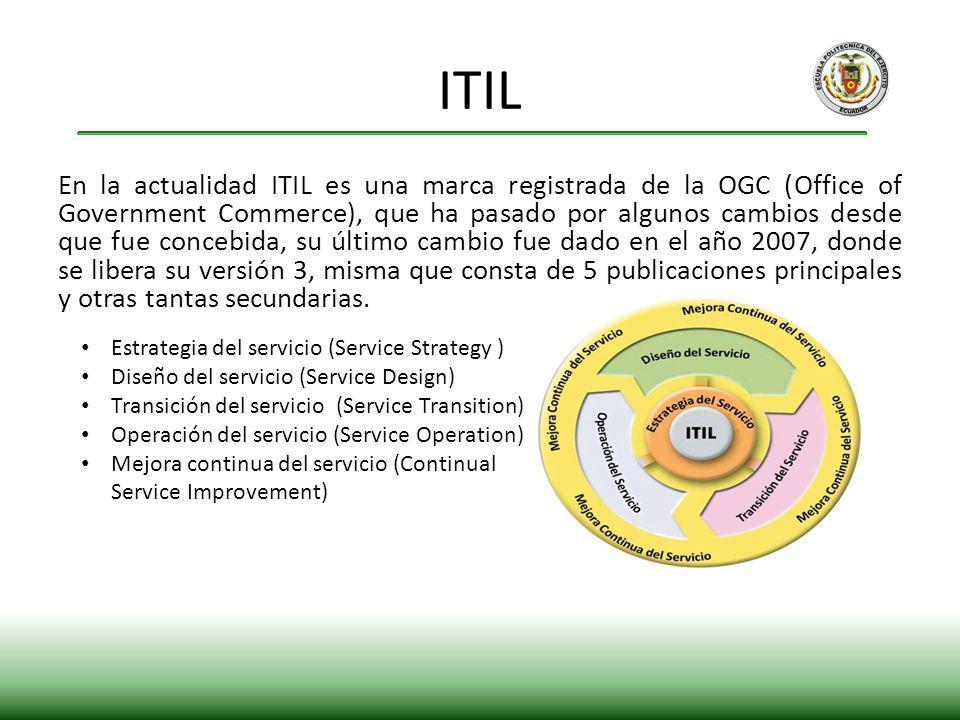 En la actualidad ITIL es una marca registrada de la OGC (Office of Government Commerce), que ha pasado por algunos cambios desde que fue concebida, su