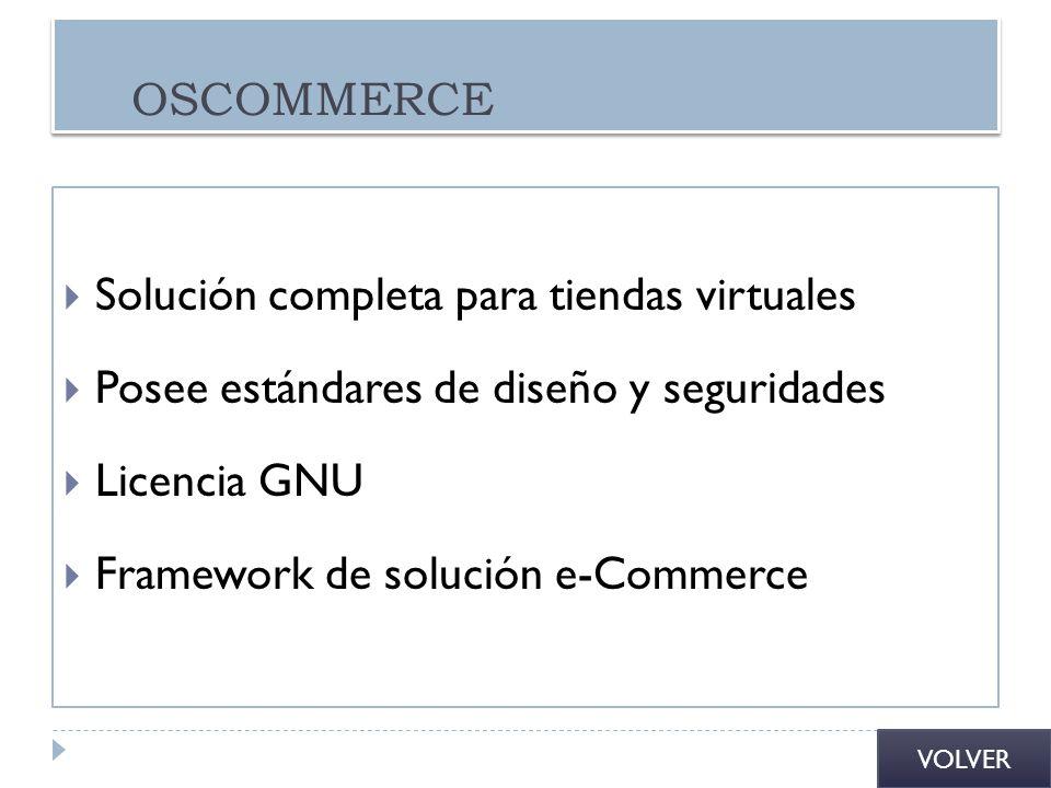 OSCOMMERCE Solución completa para tiendas virtuales Posee estándares de diseño y seguridades Licencia GNU Framework de solución e-Commerce VOLVER