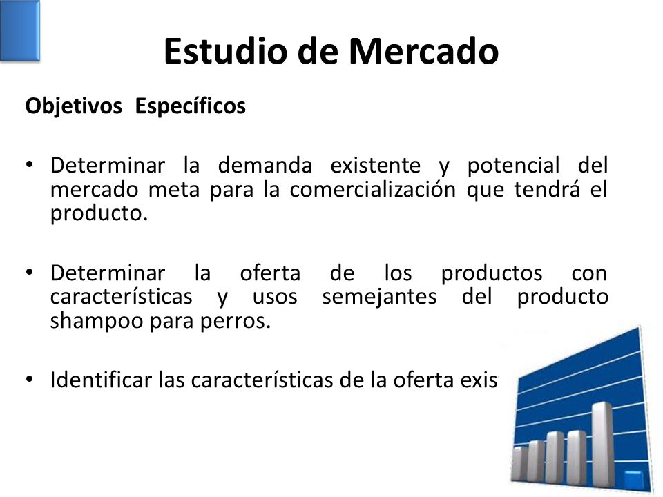 Objetivos Específicos Determinar la demanda existente y potencial del mercado meta para la comercialización que tendrá el producto. Determinar la ofer