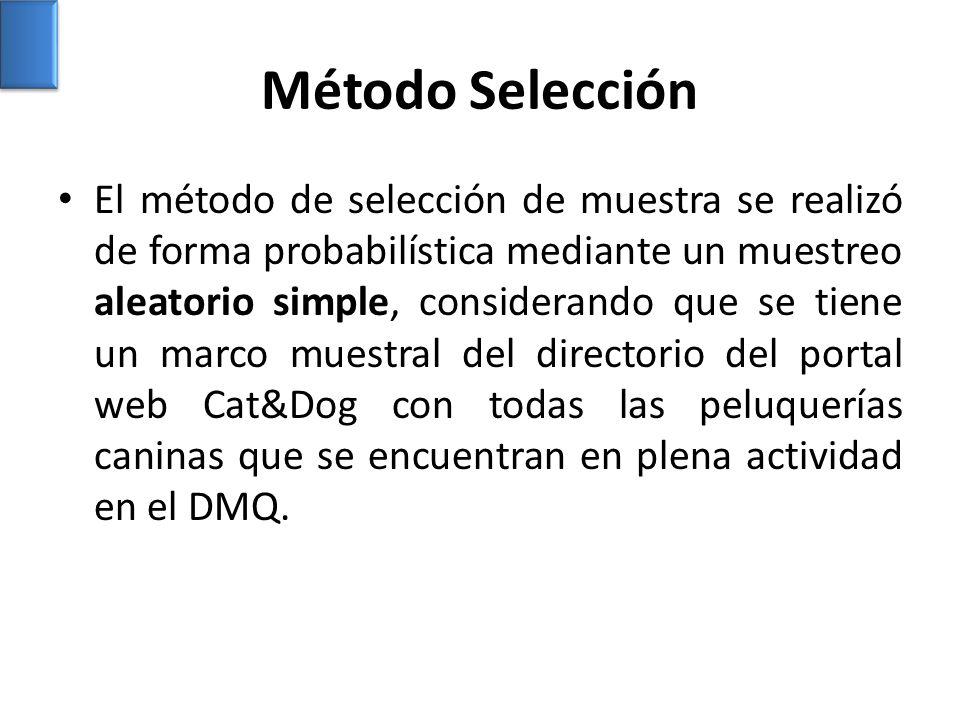 Método Selección El método de selección de muestra se realizó de forma probabilística mediante un muestreo aleatorio simple, considerando que se tiene