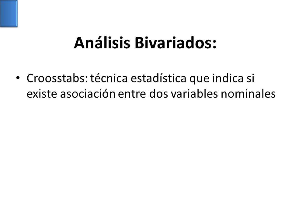 Análisis Bivariados: Croosstabs: técnica estadística que indica si existe asociación entre dos variables nominales