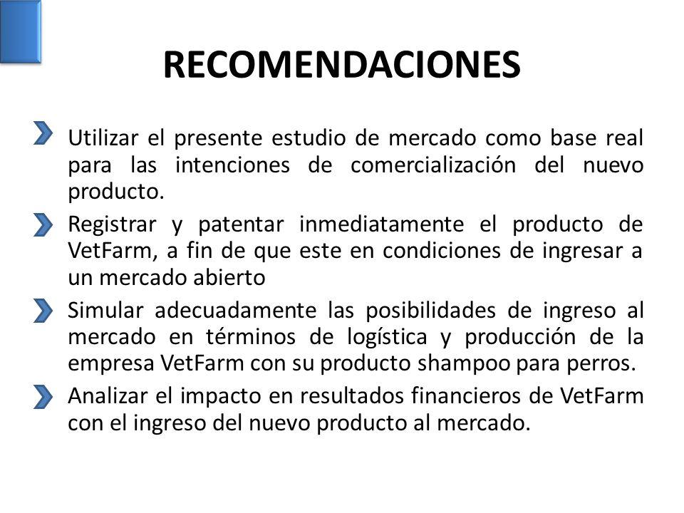 RECOMENDACIONES Utilizar el presente estudio de mercado como base real para las intenciones de comercialización del nuevo producto. Registrar y patent