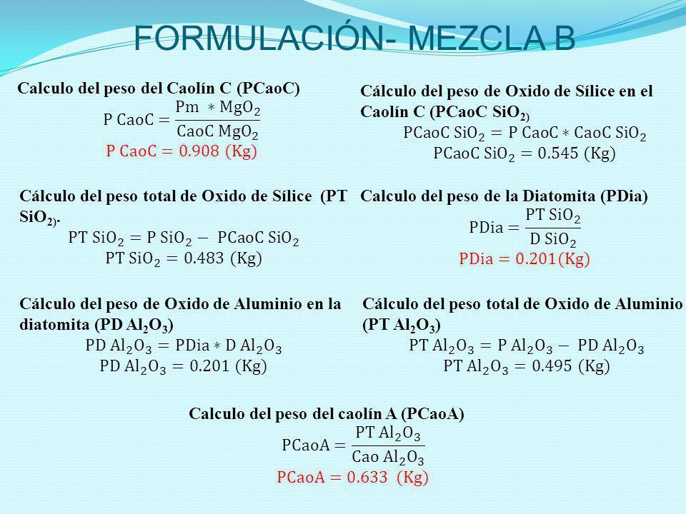 FORMULACIÓN- MEZCLA B