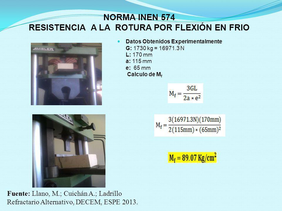 NORMA INEN 574 RESISTENCIA A LA ROTURA POR FLEXIÓN EN FRIO Datos Obtenidos Experimentalmente G: 1730 kg = 16971.3 N L: 170 mm a: 115 mm e: 65 mm Calcu