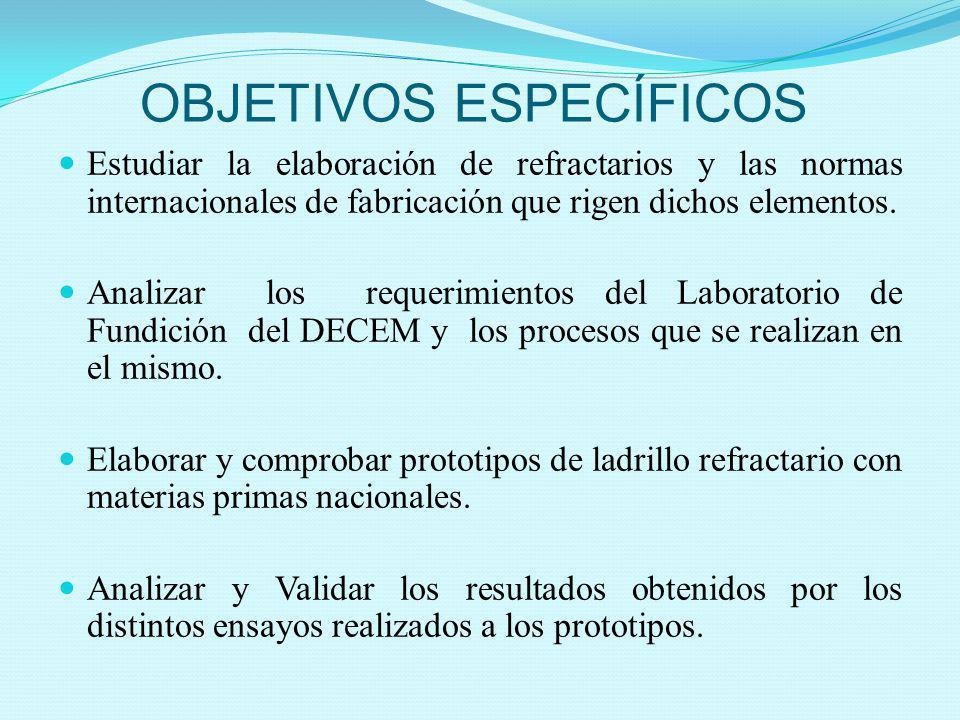 OBJETIVOS ESPECÍFICOS Estudiar la elaboración de refractarios y las normas internacionales de fabricación que rigen dichos elementos. Analizar los req