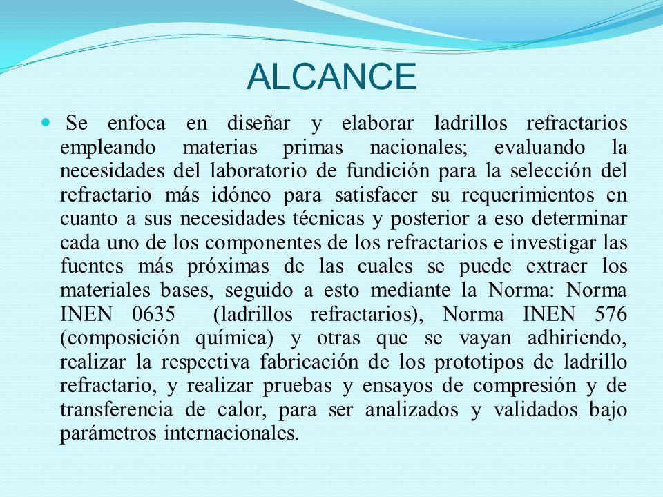 ALCANCE Se enfoca en diseñar y elaborar ladrillos refractarios empleando materias primas nacionales; evaluando la necesidades del laboratorio de fundi