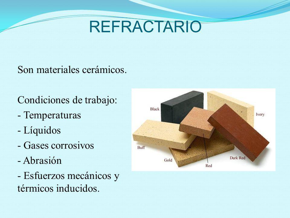 REFRACTARIO Son materiales cerámicos. Condiciones de trabajo: - Temperaturas - Líquidos - Gases corrosivos - Abrasión - Esfuerzos mecánicos y térmicos