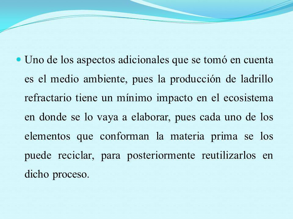 Uno de los aspectos adicionales que se tomó en cuenta es el medio ambiente, pues la producción de ladrillo refractario tiene un mínimo impacto en el e