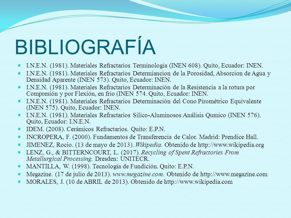 BIBLIOGRAFÍA I.N.E.N. (1981). Materiales Refractarios Terminologia (INEN 608). Quito, Ecuador: INEN. I.N.E.N. (1981). Materiales Refractarios Determia