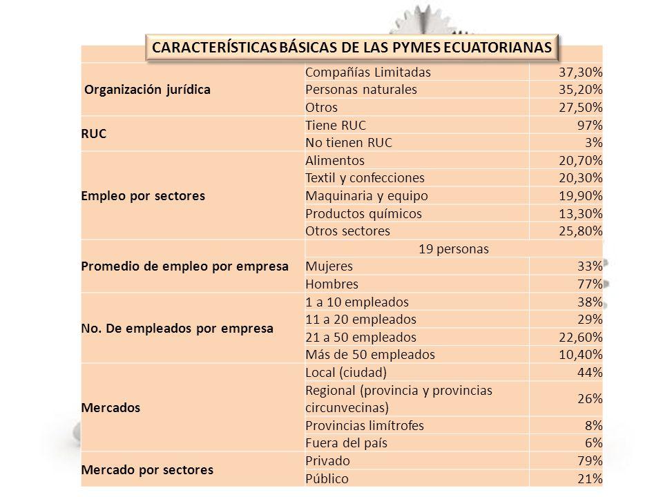 CARACTERISTICAS BÁSICAS DE LAS PYMES ECUATORIANAS Organización jurídica Compañías Limitadas37,30% Personas naturales35,20% Otros27,50% RUC Tiene RUC97
