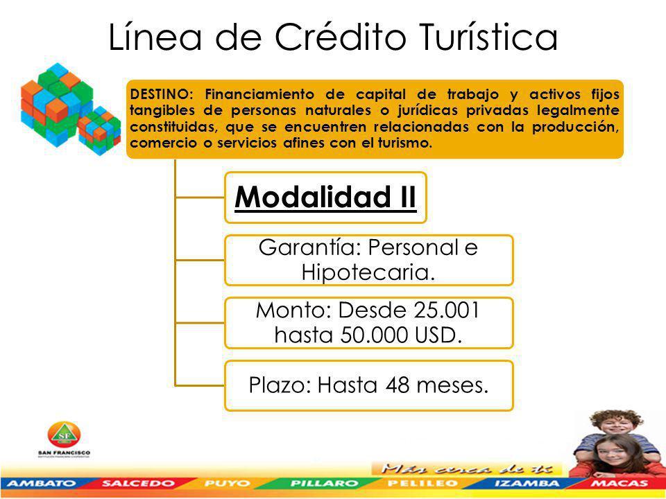 Línea de Crédito Turística DESTINO: Financiamiento de capital de trabajo y activos fijos tangibles de personas naturales o jurídicas privadas legalmente constituidas, que se encuentren relacionadas con la producción, comercio o servicios afines con el turismo.