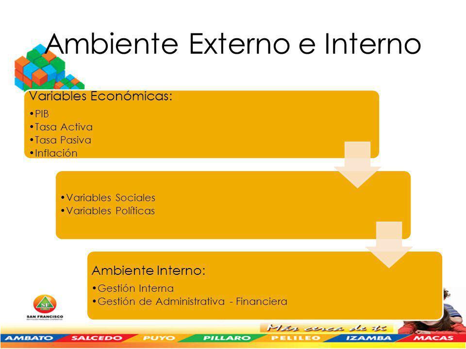 Ambiente Externo e Interno Variables Económicas: PIB Tasa Activa Tasa Pasiva Inflación Variables Sociales Variables Políticas Ambiente Interno: Gestión Interna Gestión de Administrativa - Financiera