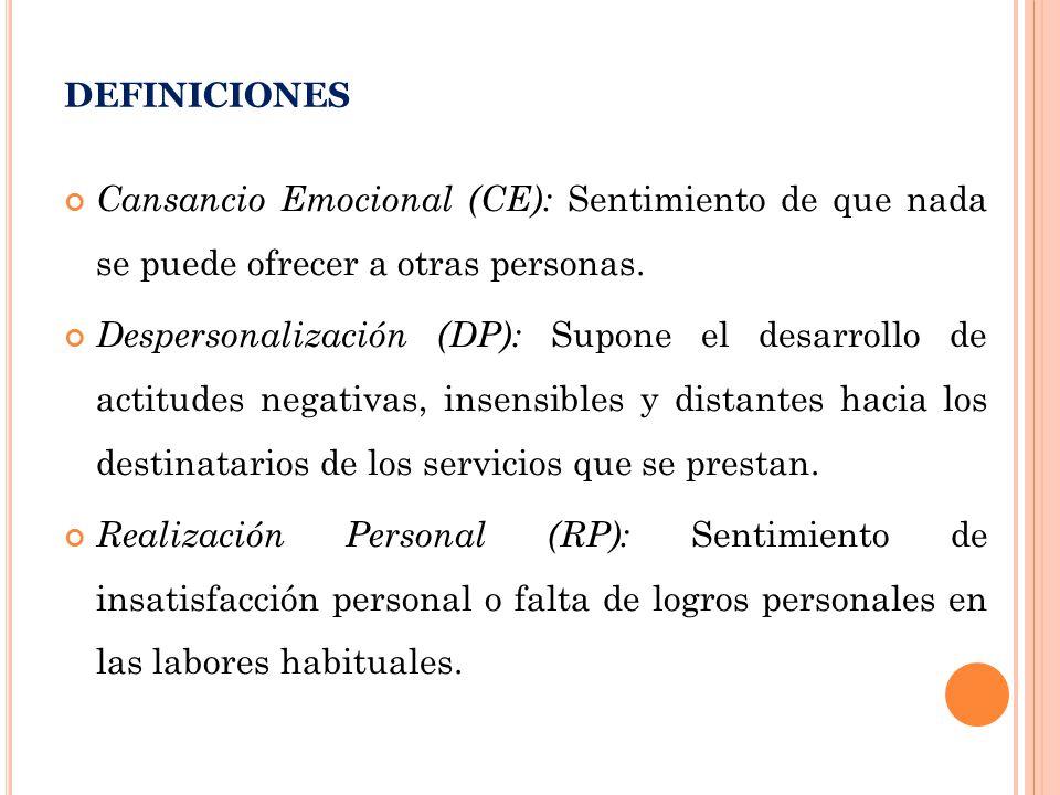 DEFINICIONES Cansancio Emocional (CE): Sentimiento de que nada se puede ofrecer a otras personas.