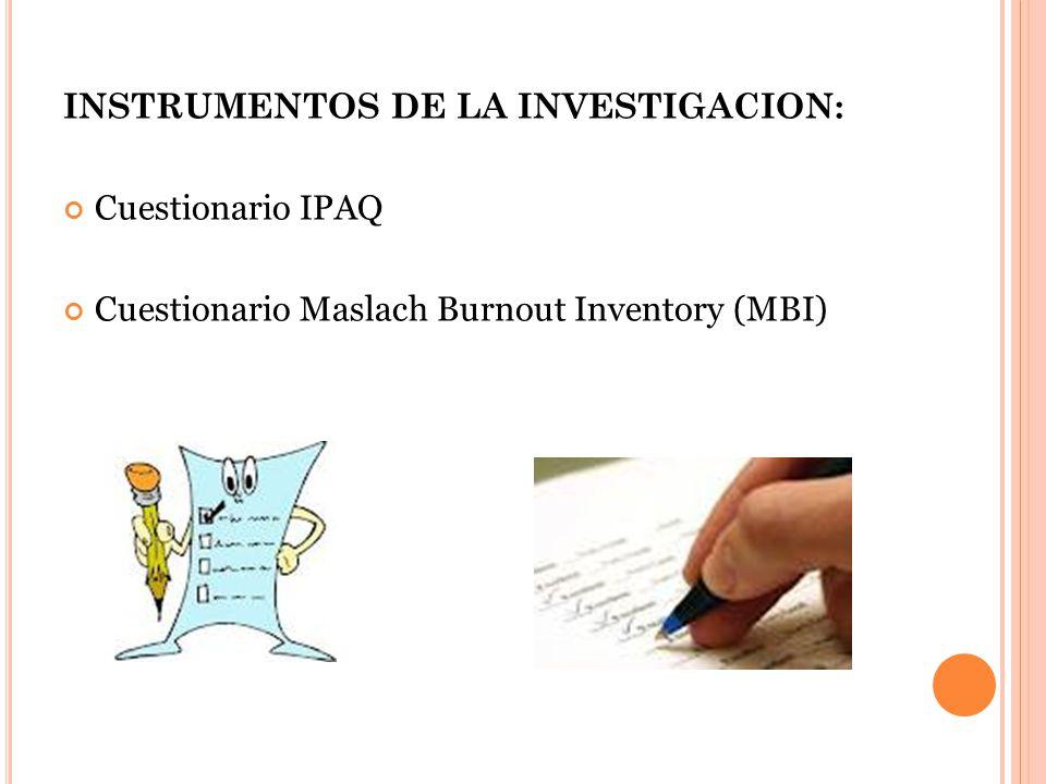 INSTRUMENTOS DE LA INVESTIGACION: Cuestionario IPAQ Cuestionario Maslach Burnout Inventory (MBI)