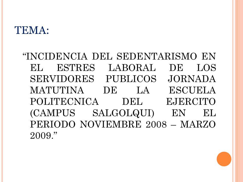 TEMA: INCIDENCIA DEL SEDENTARISMO EN EL ESTRES LABORAL DE LOS SERVIDORES PUBLICOS JORNADA MATUTINA DE LA ESCUELA POLITECNICA DEL EJERCITO (CAMPUS SALGOLQUI) EN EL PERIODO NOVIEMBRE 2008 – MARZO 2009.