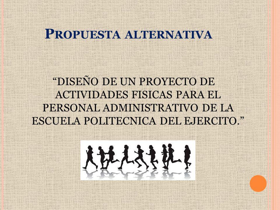 P ROPUESTA ALTERNATIVA DISEÑO DE UN PROYECTO DE ACTIVIDADES FISICAS PARA EL PERSONAL ADMINISTRATIVO DE LA ESCUELA POLITECNICA DEL EJERCITO.