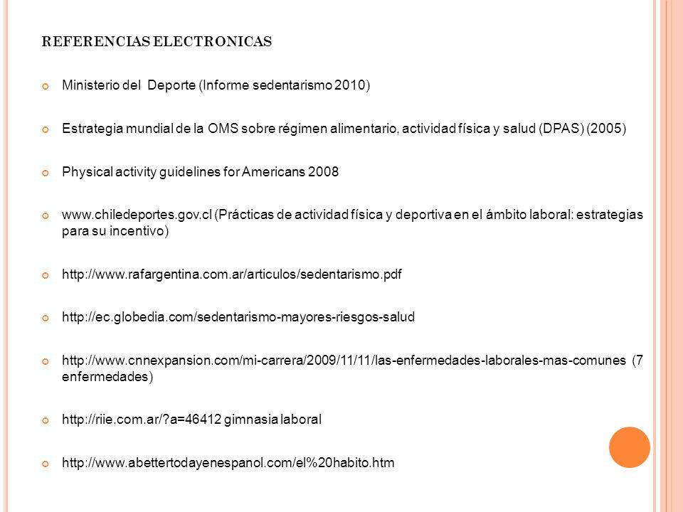 REFERENCIAS ELECTRONICAS Ministerio del Deporte (Informe sedentarismo 2010) Estrategia mundial de la OMS sobre régimen alimentario, actividad física y salud (DPAS) (2005) Physical activity guidelines for Americans 2008 www.chiledeportes.gov.cl (Prácticas de actividad física y deportiva en el ámbito laboral: estrategias para su incentivo) http://www.rafargentina.com.ar/articulos/sedentarismo.pdf http://ec.globedia.com/sedentarismo-mayores-riesgos-salud http://www.cnnexpansion.com/mi-carrera/2009/11/11/las-enfermedades-laborales-mas-comunes (7 enfermedades) http://riie.com.ar/?a=46412 gimnasia laboral http://www.abettertodayenespanol.com/el%20habito.htm
