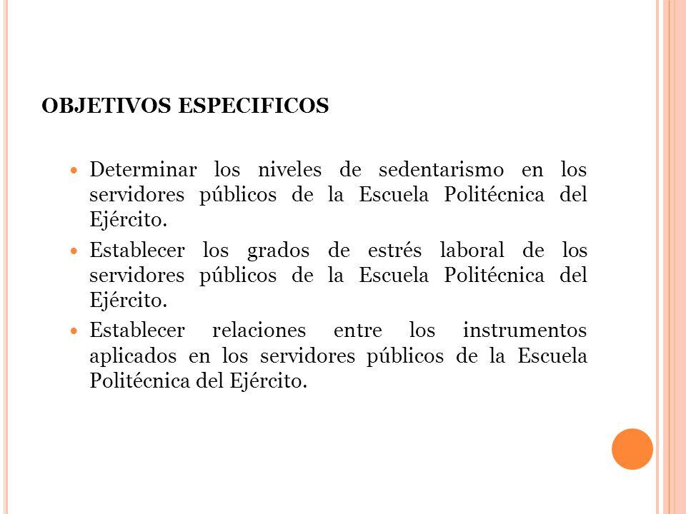 OBJETIVOS ESPECIFICOS Determinar los niveles de sedentarismo en los servidores públicos de la Escuela Politécnica del Ejército.