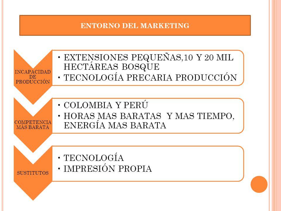 INCAPACIDAD DE PRODUCCIÓN EXTENSIONES PEQUEÑAS,10 Y 20 MIL HECTÁREAS BOSQUE TECNOLOGÍA PRECARIA PRODUCCIÓN COMPETENCIA MÁS BARATA COLOMBIA Y PERÚ HORA