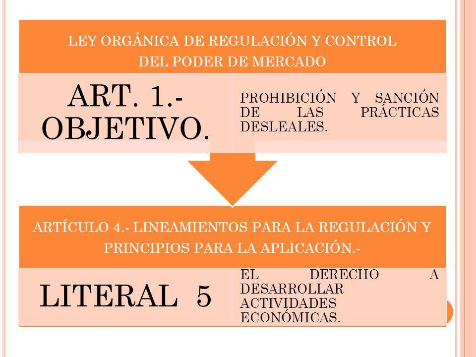 ARTÍCULO 4.- LINEAMIENTOS PARA LA REGULACIÓN Y PRINCIPIOS PARA LA APLICACIÓN.- LITERAL 5 EL DERECHO A DESARROLLAR ACTIVIDADES ECONÓMICAS. LEY ORGÁNICA