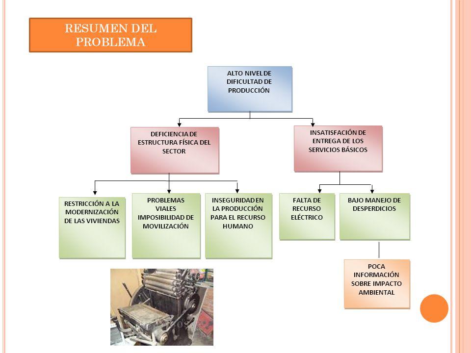 FALTA DE RECURSO ELÉCTRICO BAJO MANEJO DE DESPERDICIOS POCA INFORMACIÓN SOBRE IMPACTO AMBIENTAL ALTO NIVEL DE DIFICULTAD DE PRODUCCIÓN INSATISFACIÓN D