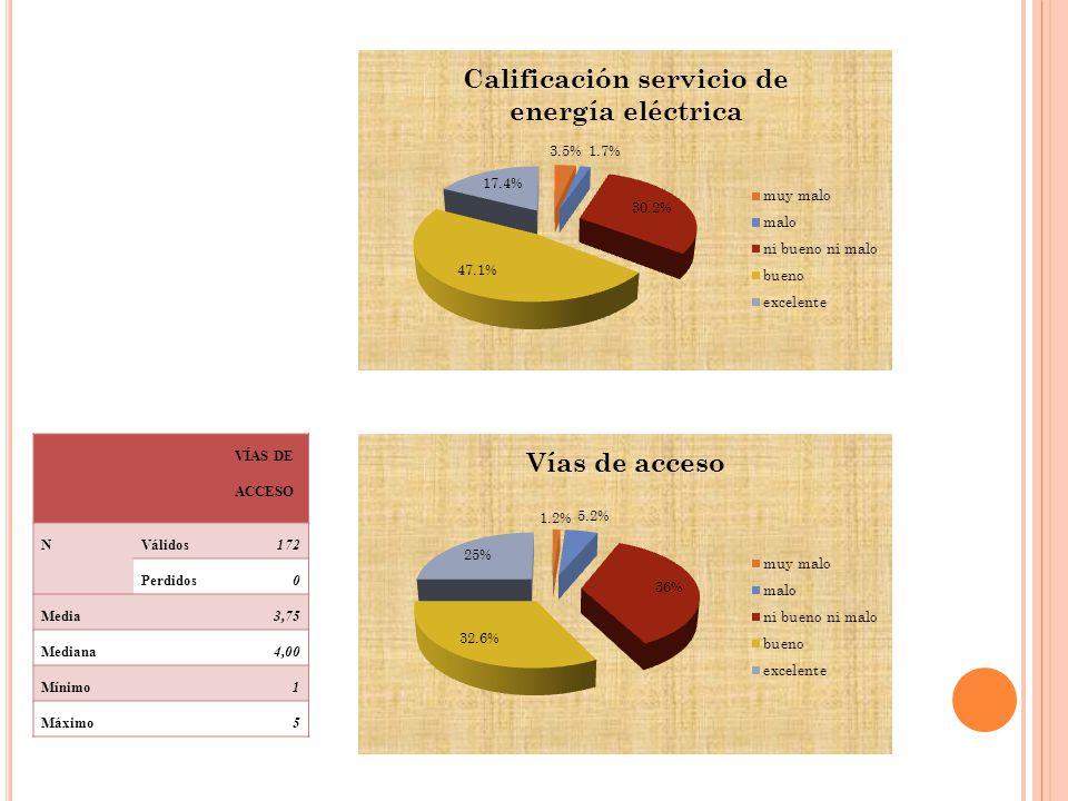 VÍAS DE ACCESO NVálidos172 Perdidos0 Media3,75 Mediana4,00 Mínimo1 Máximo5