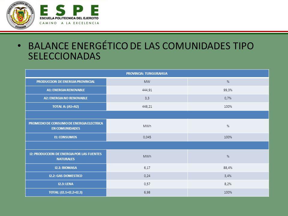 BALANCE ENERGÉTICO DE LAS COMUNIDADES TIPO SELECCIONADAS PROVINCIA: TUNGURAHUA PRODUCCION DE ENERGIA PROVINCIALMW% A1: ENERGIA RENOVABLE444,9199,3% A2