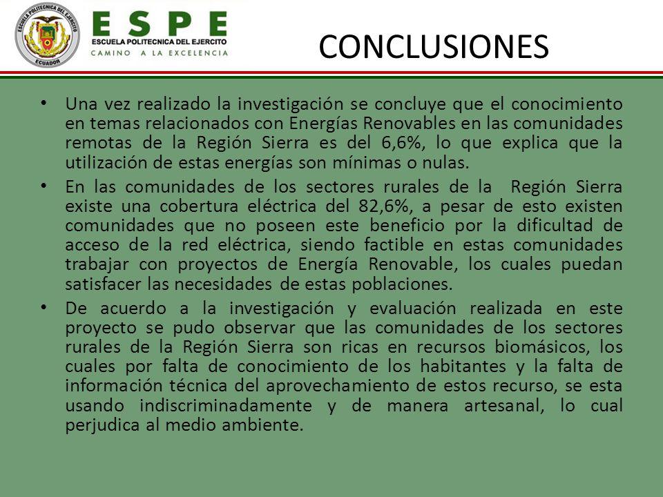 CONCLUSIONES Una vez realizado la investigación se concluye que el conocimiento en temas relacionados con Energías Renovables en las comunidades remot