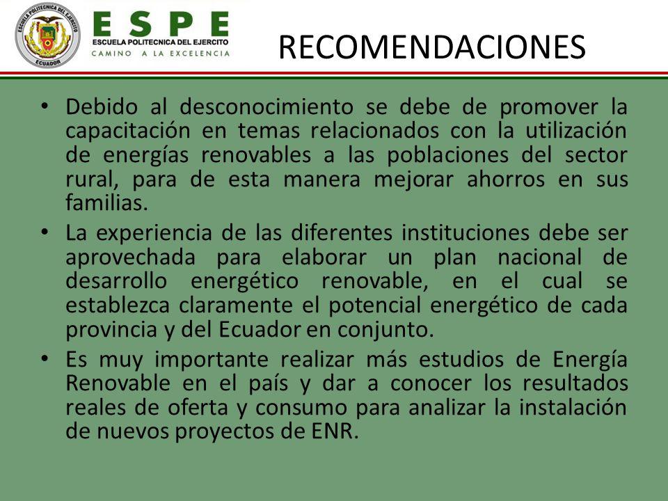 RECOMENDACIONES Debido al desconocimiento se debe de promover la capacitación en temas relacionados con la utilización de energías renovables a las po