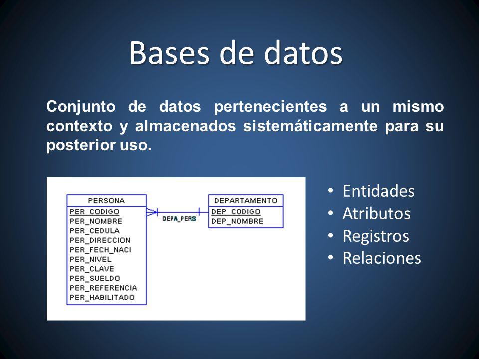 Conjunto de datos pertenecientes a un mismo contexto y almacenados sistemáticamente para su posterior uso. Bases de datos Entidades Atributos Registro