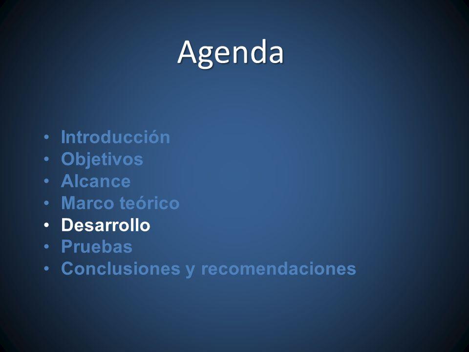 Introducción Objetivos Alcance Marco teórico Desarrollo Pruebas Conclusiones y recomendaciones Agenda