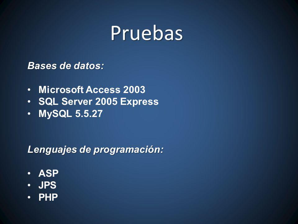 Bases de datos: Microsoft Access 2003 SQL Server 2005 Express MySQL 5.5.27 Lenguajes de programación: ASP JPS PHP Pruebas