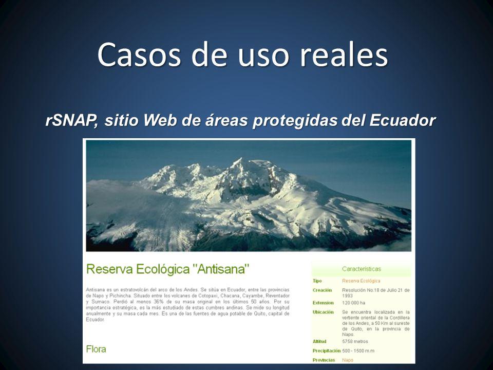 rSNAP, sitio Web de áreas protegidas del Ecuador Casos de uso reales
