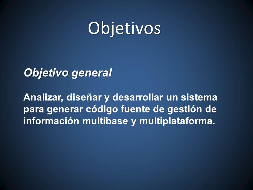 Objetivo general Analizar, diseñar y desarrollar un sistema para generar código fuente de gestión de información multibase y multiplataforma.