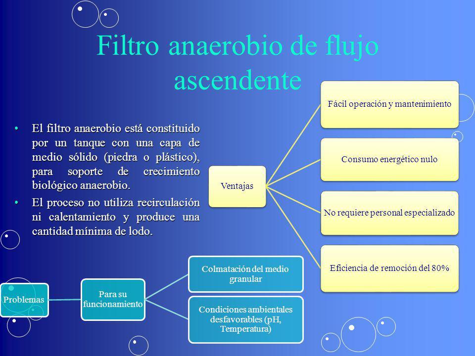 Filtro anaerobio de flujo ascendente El filtro anaerobio está constituido por un tanque con una capa de medio sólido (piedra o plástico), para soporte