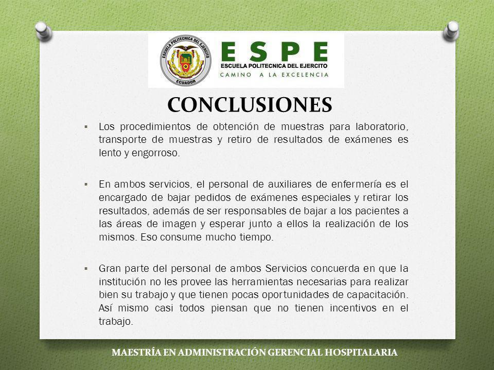 CONCLUSIONES El Hospital General Enrique Garcés al momento no trabaja con metodología de procesos, al contrario, predomina una estructura jerárquica c