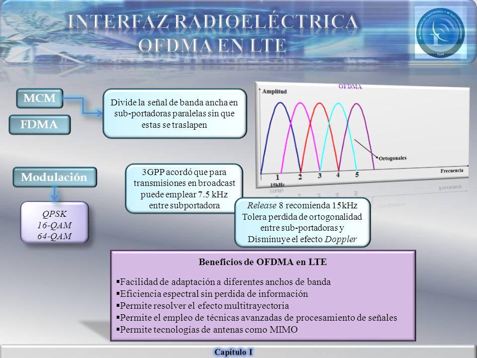 MCM Divide la señal de banda ancha en sub-portadoras paralelas sin que estas se traslapen FDMA 3GPP acordó que para transmisiones en broadcast puede e