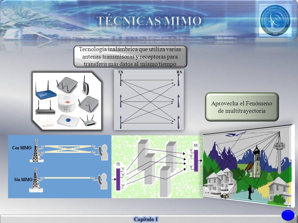 Tecnología inalámbrica que utiliza varias antenas transmisoras y receptoras para transferir más datos al mismo tiempo Aprovecha el Fenómeno de multitr