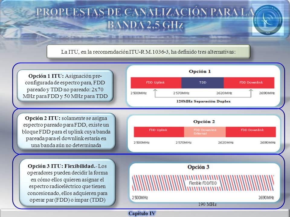 La ITU, en la recomendación ITU-R M.1036-3, ha definido tres alternativas: Opción 1 ITU: Asignación pre- configurada de espectro para, FDD pareado y T