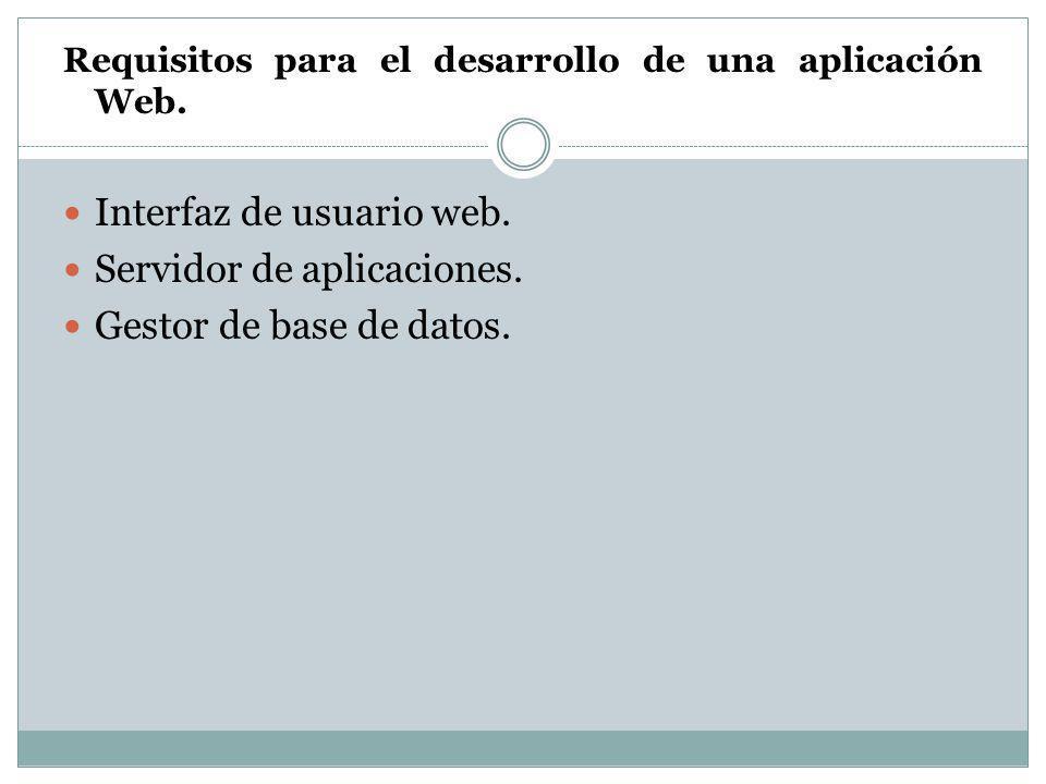 Requisitos para el desarrollo de una aplicación Web. Interfaz de usuario web. Servidor de aplicaciones. Gestor de base de datos.