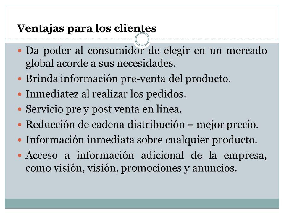 Ventajas para los clientes Da poder al consumidor de elegir en un mercado global acorde a sus necesidades. Brinda información pre-venta del producto.