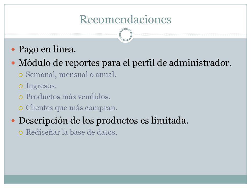 Recomendaciones Pago en línea. Módulo de reportes para el perfil de administrador. Semanal, mensual o anual. Ingresos. Productos más vendidos. Cliente
