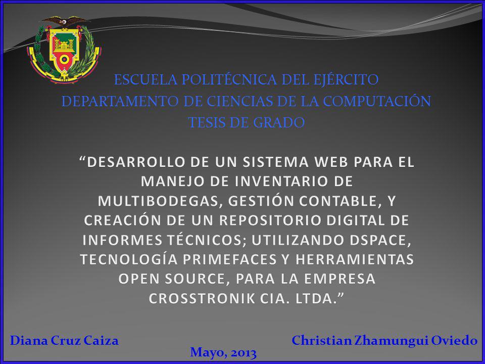 ESCUELA POLITÉCNICA DEL EJÉRCITO DEPARTAMENTO DE CIENCIAS DE LA COMPUTACIÓN TESIS DE GRADO Christian Zhamungui OviedoDiana Cruz Caiza Mayo, 2013