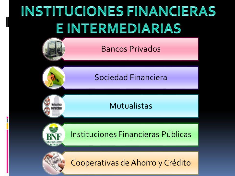 Bancos Privados Sociedad Financiera Mutualistas Instituciones Financieras Públicas Cooperativas de Ahorro y Crédito