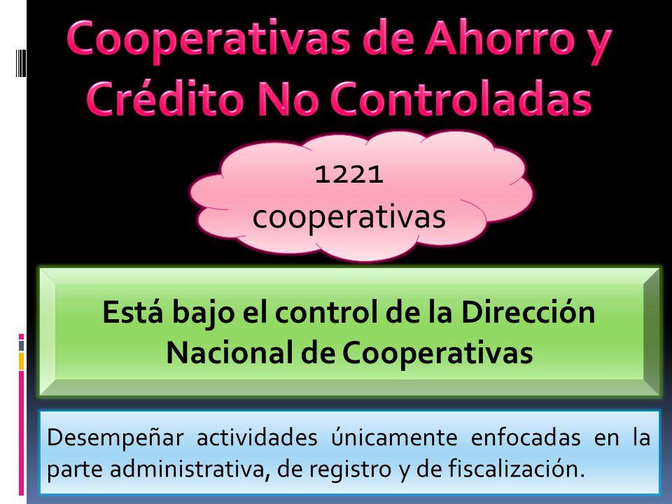 1221 cooperativas Está bajo el control de la Dirección Nacional de Cooperativas Desempeñar actividades únicamente enfocadas en la parte administrativa