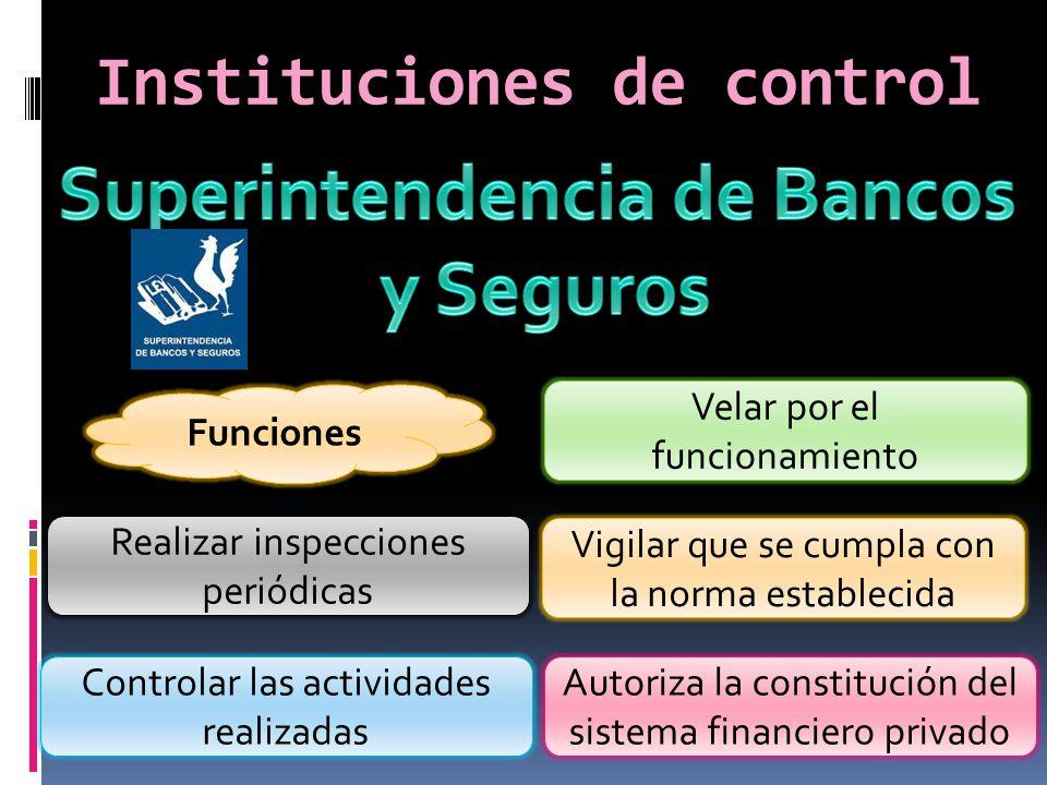 Instituciones de control Funciones Autoriza la constitución del sistema financiero privado Realizar inspecciones periódicas Controlar las actividades