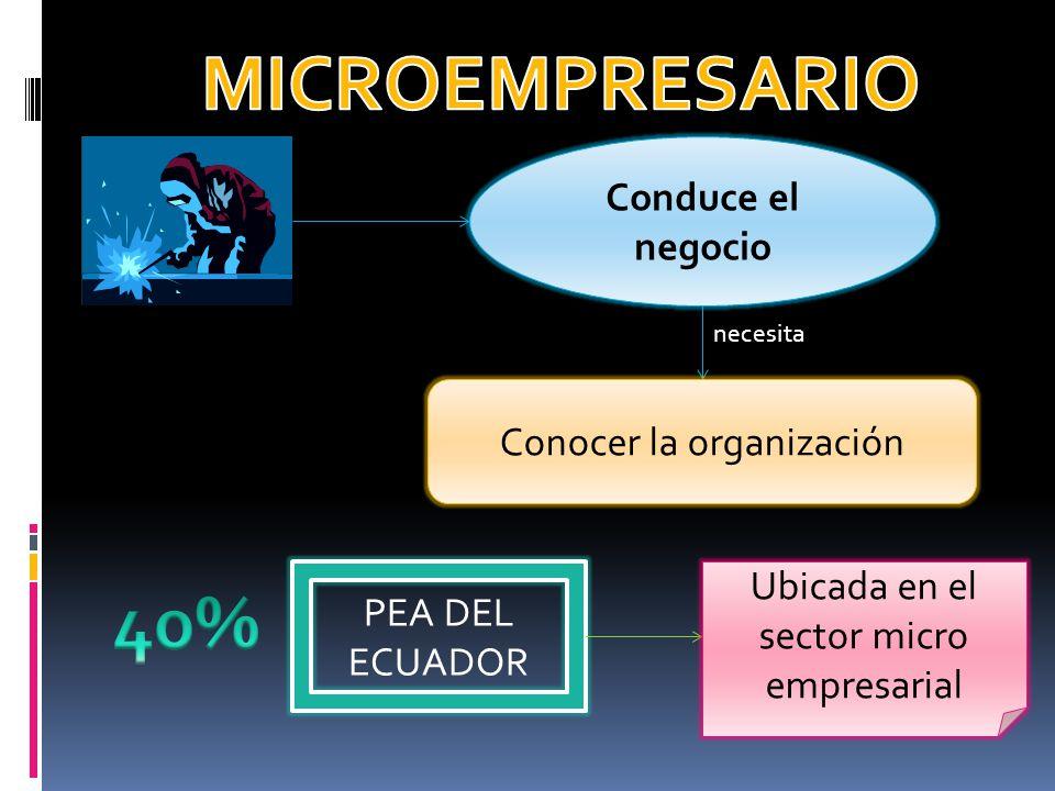 Conduce el negocio necesita Conocer la organización PEA DEL ECUADOR Ubicada en el sector micro empresarial