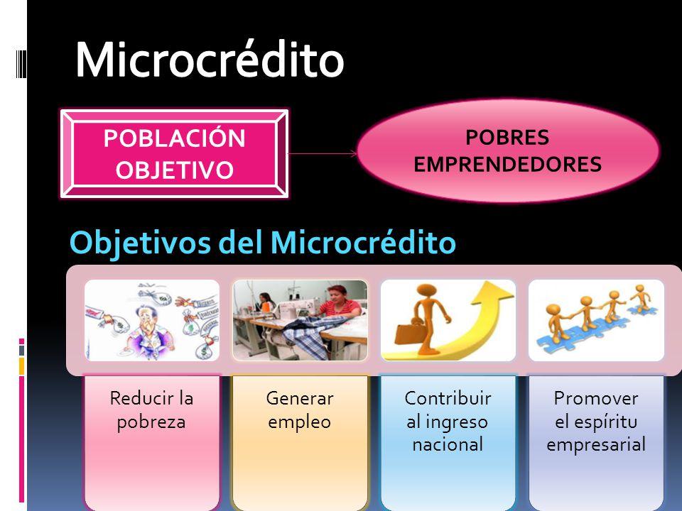 POBLACIÓN OBJETIVO POBRES EMPRENDEDORES Objetivos del Microcrédito Reducir la pobreza Generar empleo Contribuir al ingreso nacional Promover el espíri